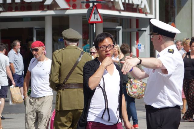 British Legion members doing an obliging job as tourist guides.