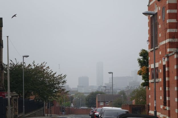 The city centre's just down there, somewhere.