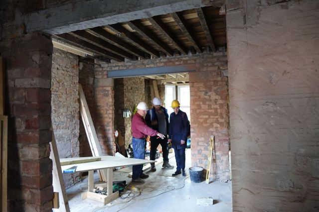 On site with Joe Halligan from Assemble, on the right of the picture, with Joe and Steve from Penny Lane Builders.