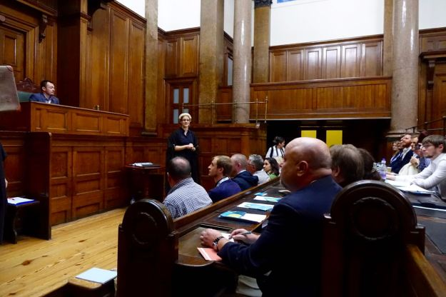 We used one of the court rooms for a staged debate about austerity.