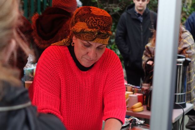 Busy all day serving her halal Christmas Dinners.
