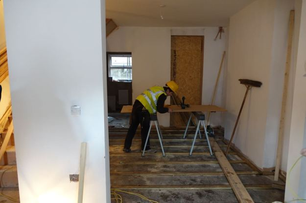 Work here being done by 16 year old Charlie, one of five local apprentices on site.