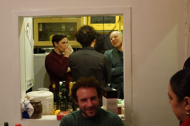 Joe and Lewis from Assemble. In the kitchen with our Michael.