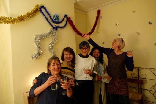 Plus Tracey and Erika, showing off Fran's Turner Prize winning christmas decoration.