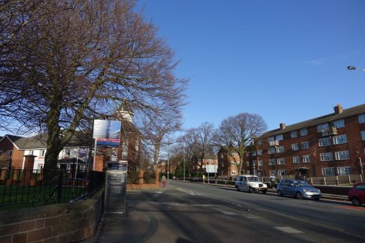 Looking along Sefton Park Drive to Lodge Lane.
