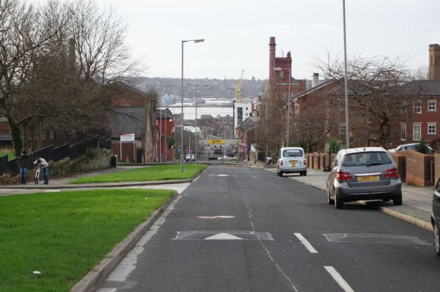 Looking down Stanhope Street to the river.