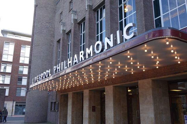 Unlike the elegant new signage on the Philharmonic Hall opposite.