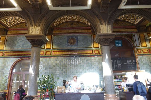Lunch is in the most magnificently tiled municipal room I've ever been in.