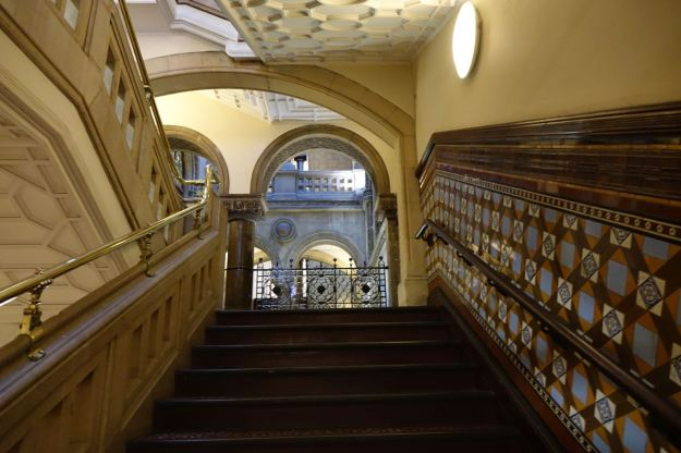 For the afternoon it's up the magnificently tiled stairs into Leeds Library.