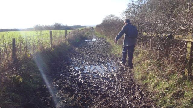 Along seriously muddy lanes.