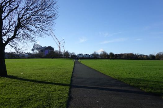 Stretching between both football grounds either side of the park.