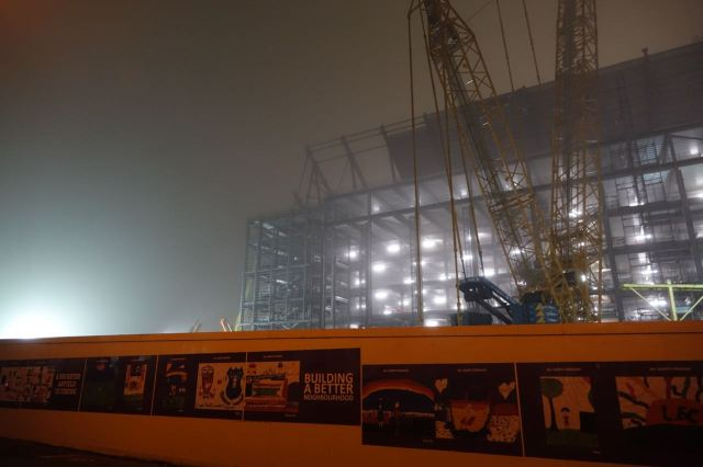 The new stand at Anfield rising in the January fog.