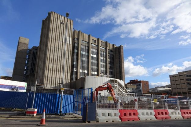 Building works now nearly surround the existing hospital.