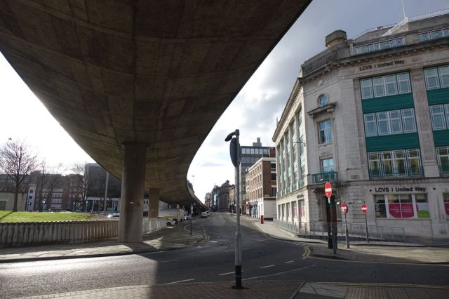 Under the flyover to Dale Street.