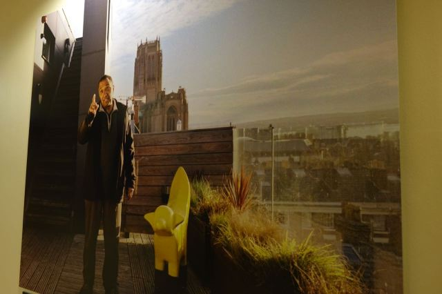 Here's Joe, with Bob Lambanana, photographed on top of the Hope Street Hotel with the Cathedral in the background.