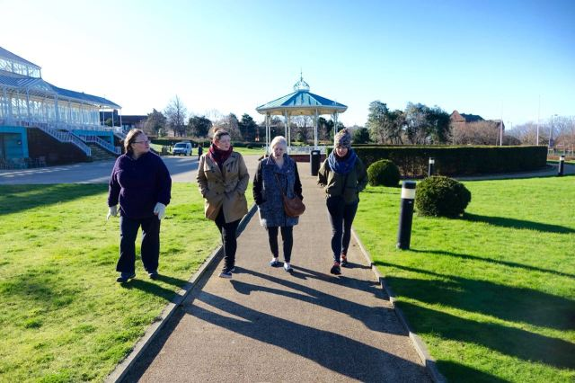 And set off walking. Jan, Rachael, Ros, Pat and me.