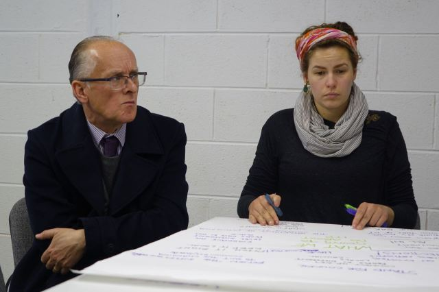 Malcolm looking worried about what Grace thinks. In April at Make Liverpool.