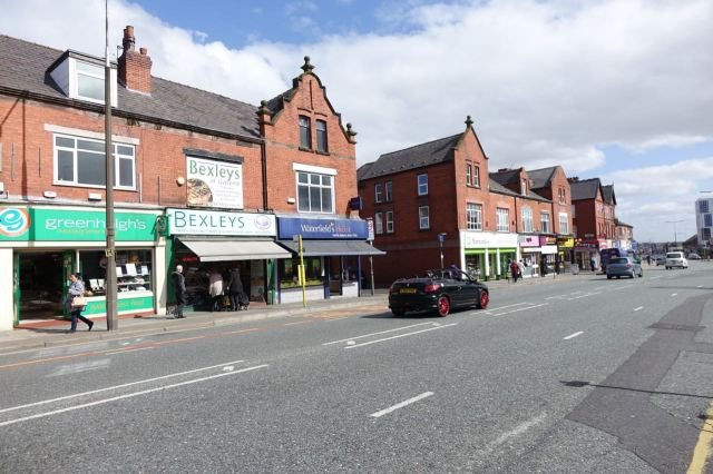 Along Prescot Road. A busy attractive high street.