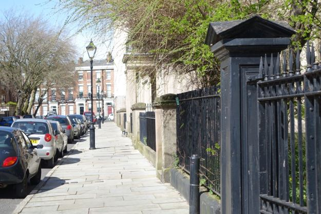 Along Percy Street in the sunshine.