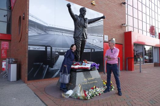 I meet John and Michele at the Shankly Statue as arranged.