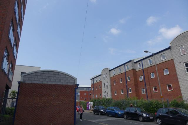 Breezeblocked student housing now encroaching.