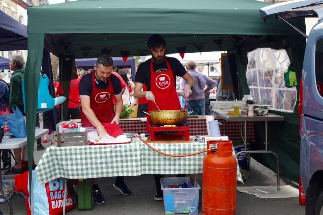 Luca and colleague getting everything ready at the back of Fritto's stall.