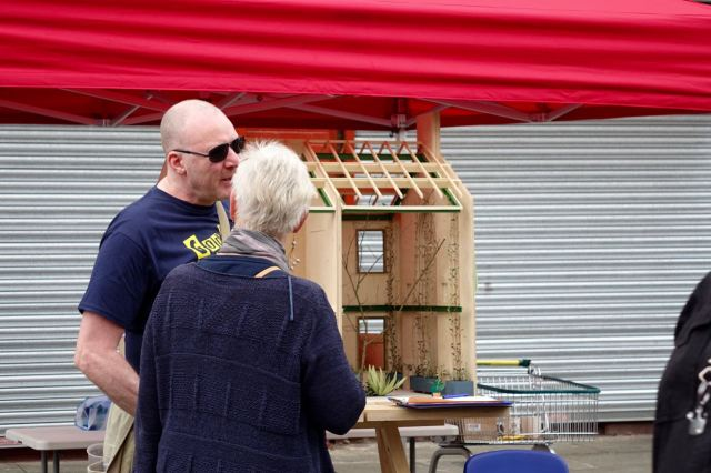 Michael and Eleanor ready to show people the model of the Winter Garden.