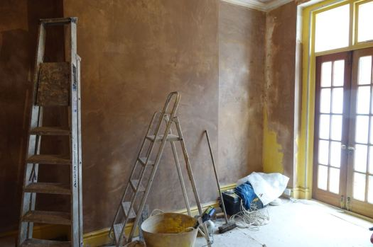 The plastering is nearly done.
