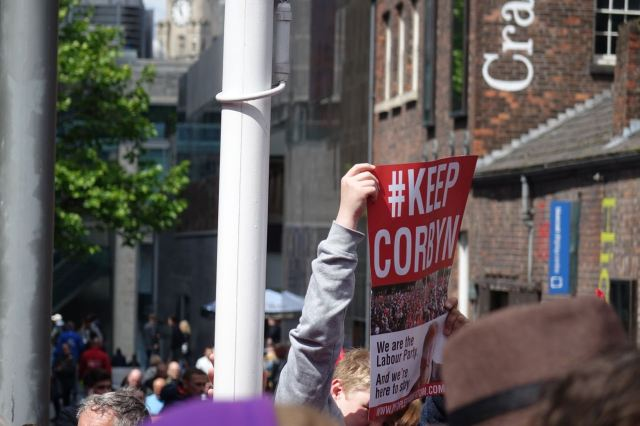 At the Keep Corbyn demo.