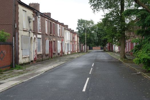 The left side of Kinmel Street here being the beginning of the Place First area.