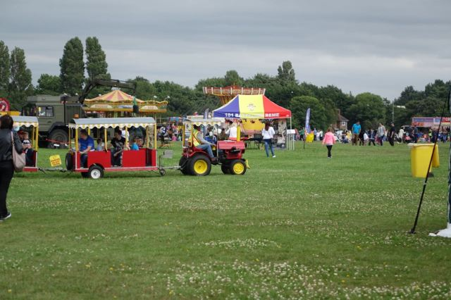 There's a tractor train for getting around.
