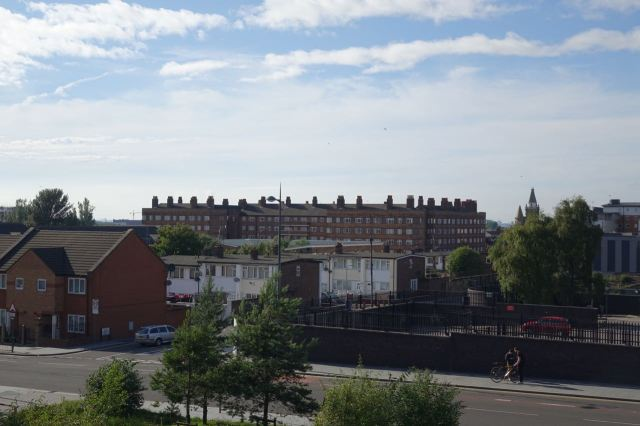 Past the Bullring and the municipal housing around it.