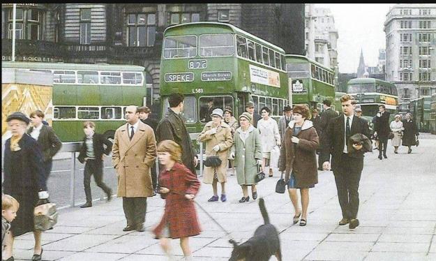 Bus station in front of the Liver Buildings.