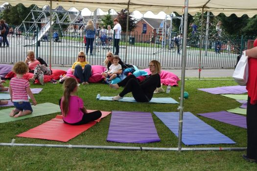 Yoga going down well with the children.