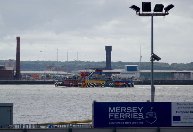 The Dazzle Ferry out on the Mersey.