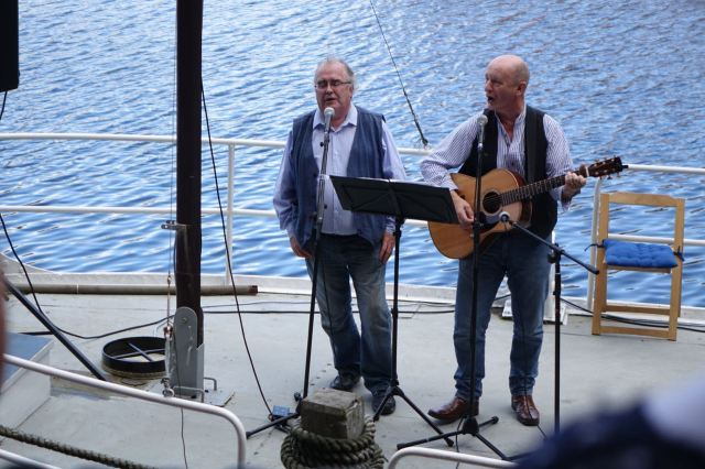 Next it's sea shanties from a boat inside the Albert Dock.