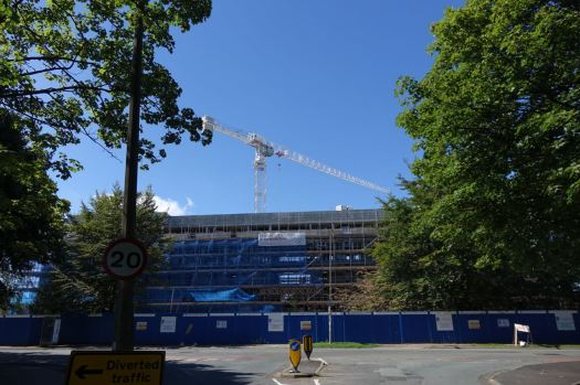 New student halls coming on at the end of the lane.