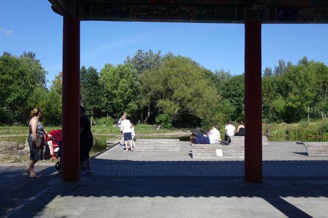 Through the pagoda.