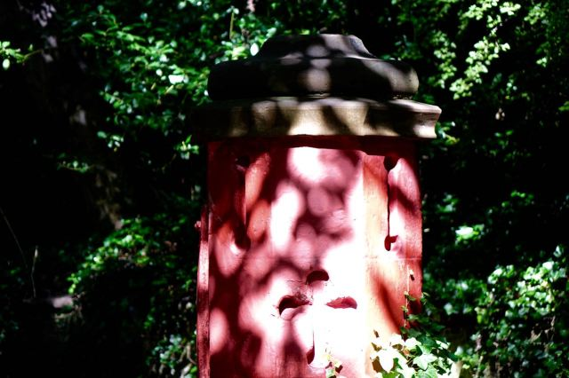Into St Michael's Wood. Shadows on an ancient gate post.
