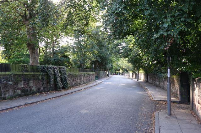Into leafy suburbia.