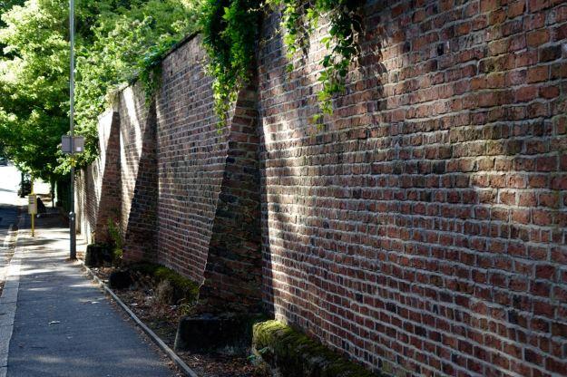 The beautiful brick wall of Greenbank Park.