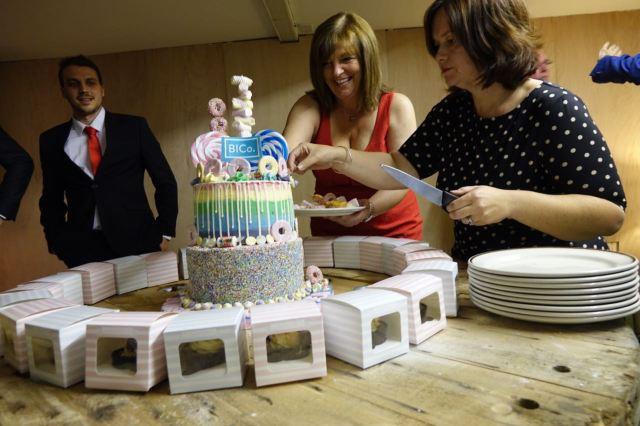 Deputy Mayor Ann O'Byrne and Nicola Higham of Beautiful Ideas cut the cake.