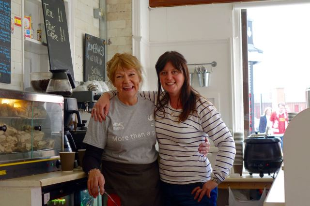 Our friends Cathy Alderson and Jayne Lawless at The Bakery.