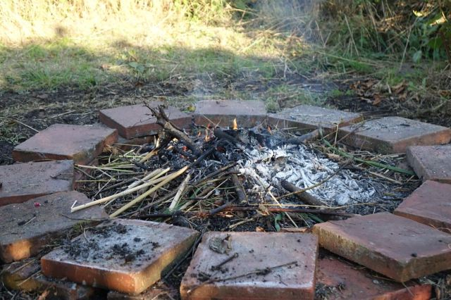 A new fire pit is constructed.