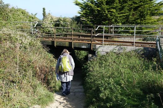 The path takes us under the coastal railway.