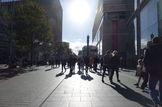 Liverpool One in the low autumn sun.