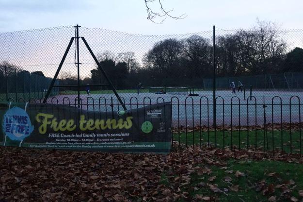 Back through the park, twilight tennis.