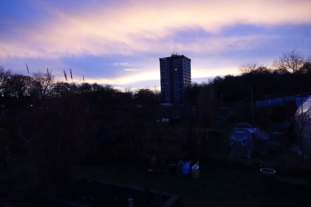 Then we watch the sun set behind the tower block. No words sufficient for the beauty we're about to see.