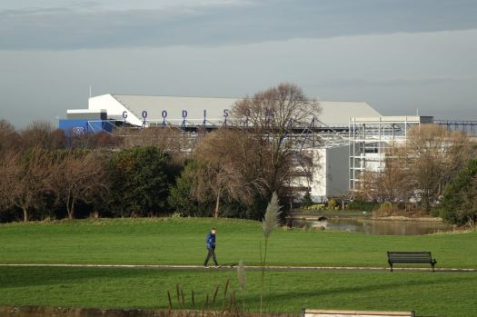 Everton's ground down the hill there.