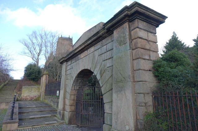 In through this grand gate to St James' Garden.